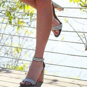 Navy and white block heels